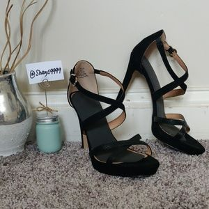 Black Faux Leather & Suede H&M Heel 7 or 7 1/2
